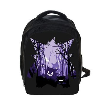 Cartoon  Gastly Haunter Gengar Printing Backpack Kids Boys Girls School Bags  Kindergarten Primary School Book BagKawaii Pokemon go  AT_89_9