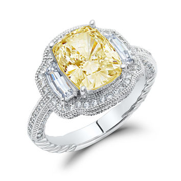 Sterling silver bonded with platinum 3 stone emerald cut lab grown canary wedding ring and simulated diamonds by swarovski.  ZR-0234CA
