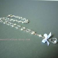 Bridal Necklace Crystal Pearl and Satin Ribbon  by SenoritaJoya