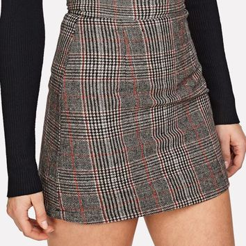 Wales Check Zip Back Skirt MULTICOLOR