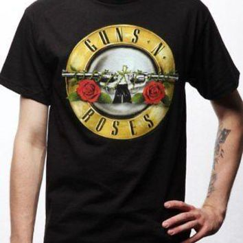 Guns 'N' Roses Classic Bullet Band Logo Licensed Adult Unisex T-Shirt - Black