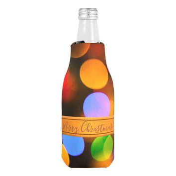 Multicolored Christmas lights. Add text or name. Bottle Cooler