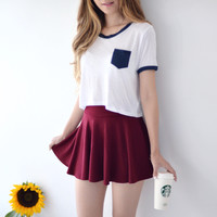 Carrie Circle Skirt - Wine Red