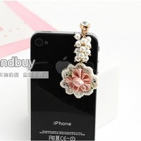 Earphone Jack Accessory White Petal Pink Bloom Pearl Chain / Dust Plug / Ear Jack For For Iphone 4