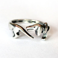 Silver Dachshund Ring Wiener Dog Ring Sausage Dog Ring