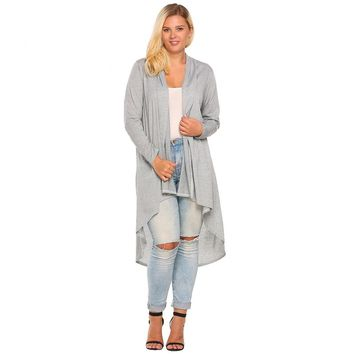 Women's Cardigan Jacket Oversize Autumn Casual Long Sleeve Open Front Draped Irregular Long Coat Sweater Plus Size