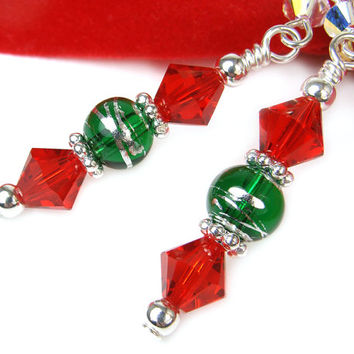 Red Green Crystal Glass Earrings Holiday Dangles Sterling Beads Handmade Jewelry