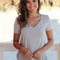 Heather Gray Criss Cross Top with Short Sleeves