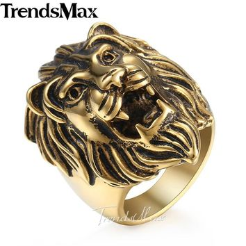 Trendsmax Men's Ring Vintage Roaring Lion King 316L Stainless Steel Ring Gold Color Jewelry for Men HRM05+