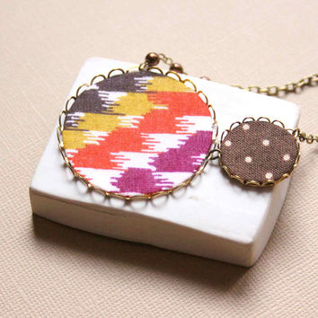 Statement Necklace in Fall Colors Brown, Yellow, Orange and Purple colors - Autumn Feeling