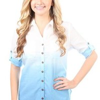 dip dye button down with rolled elbow sleeves - debshops.com