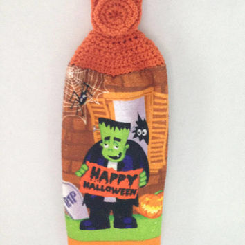 Halloween Towel - Crochet Top - Frankenstein Happy Halloween  - Orange - Hanging Towel - Handmade Crochet - Ready to Ship