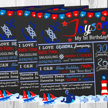 Chalkboard Birthday Poster/Nautical/Sail/ Photo Props/All About Me/Red/Navy/Boy/Party Decor/Personalized/ Custom/ Digital Printable/Wall Art