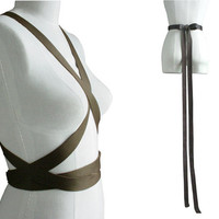 Extra Long Bow Belt or Body Harness Dark Brown Leather Wrapping Strap Belt, custom order