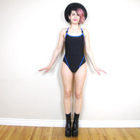 90s Sporty Minimalist Black One Piece Swimsuit Cut Out Back Maillot Color Block Strappy Bathing Suit (XS/S)