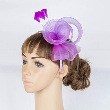 Fancy color crinoline fascinator headwear  colorful mesh feather party  race show hair accessories millinery cocktail hat MYQ040