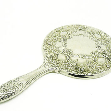 Vintage EP Hand Mirror, Silver Plated, Good Quality, Vanity, English, Heavy, Glass, REF:247M