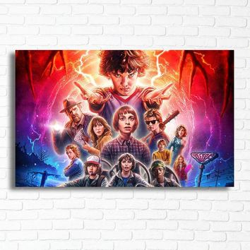 Stranger Things Poster TV Movies Wall Posters Eleven Canvas Art Living Room Wall Cartoon Boy Bedroom Vintage Decor Prints