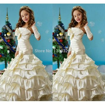 2014 Hot Strapless Mermaid Flowers Girl Dress For wedding party Bow Ruffle Formal Dresses Girl's Pageant Gowns Floor-length