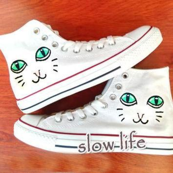 CREYONB Poppy Cat-painted shoes/Converse canvas shoes/Custom canvas shoes/Sneakers/graffiti sh