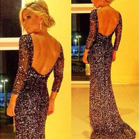 Stylish Women's Sequins Formal Prom Evening Long Dress