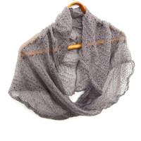 knit linen scarf, knitted flax gray lace shawl, knitting infinity wrap, light circle shawl, women accessories gray lace cowl cotton clothing