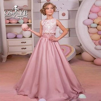 2017 Sweet Dusty Pink Lace Flower Girls Dress for Weddings Two Pieces Junior Party Gowns Girls Pageant Dress Commuion Dress