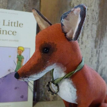Fox inspired by The Little Prince: soft sculpture animal, artist bear. Heirloom gift, baby room /child's room or for the child in you!