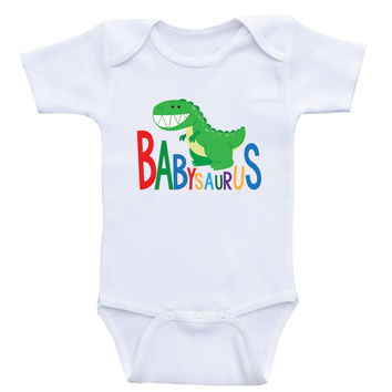 "Baby Clothes ""Babysaurus"" Cute Gender Neutral Baby Shirt Bodysuits"