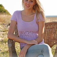 Hand Knitted top with short sleeves and lace pattern in cotton for women, girls, size small, medium , large