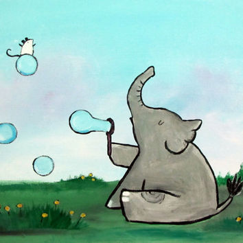 Elephant Blowing Bubbles Original Childrens Painting Kids Wall Art