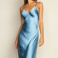 Satin Bias Cut Midi Slip Dress