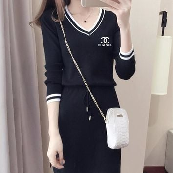 """Chanel"" Casual Fashion Knit Long Sleeve Letter Multicolor Stripe V-Neck Mini Dress"
