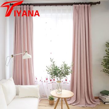 Tiyana Solid Color Cotton Linen Shading Curtains Living Room Bedroom Cafe Office Blackout Simple European Cortinas DIY P200Z20
