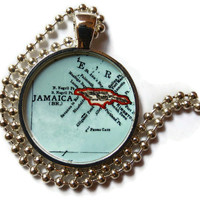 Jamaica necklace pendant charm, Jamaica map jewelry, Jamaican pendant 1 of 3