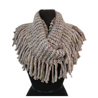 """Always My Style"" Tassel Fringe Beautiful Beige Infinity Scarf"