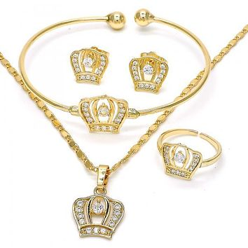 Gold Layered 06.329.0007 Earring and Pendant Children Set, Crown Design, with White Cubic Zirconia, Polished Finish, Golden Tone