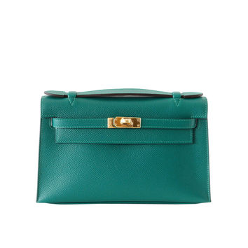 hermes kelly cut clutch bag blue electric epsom