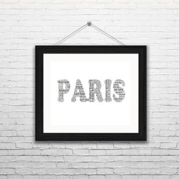 PARIS Word Art -Printable, Wall Art, Typography, Word Art, Home Decor, French Wall Art, Wall Decor