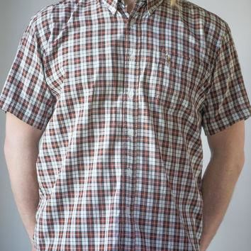 Ralph Lauren Men's Short Sleeve Shirt - Plaid Burgundy Brown White Shirt - Men¡¯s Shirt