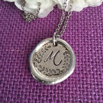 Monogram Necklace - Initial Necklace - Initial Jewelry - Wax Seal Pendant - Pewter - Mom Necklace - Gift