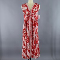 1960s Vintage Red & White Floral Print Caftan Dress / Vivante Flobert