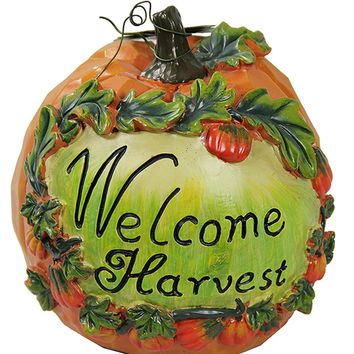 """7"""" Welcome Harvest Thanksgiving Pumpkin Table Top Decoration"""