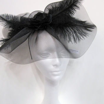 Black Horse Hair net with feathers and flower by doramarra on Etsy