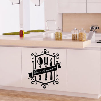 Bon Appetit Decal Kitchen Wall Decal Vinyl Sticker  Wall Decor Home Interior Design Cafe Restaurant NA54