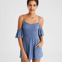 AE Knit Flutter Wing Romper, True Black