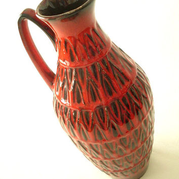 Bay Keramik 233/35 vase with handle , Red and black glaze with geometric pattern.
