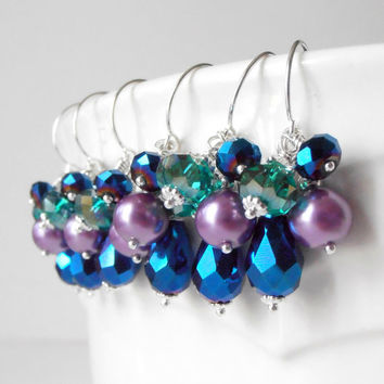 Peacock Bridesmaid Jewelry Beaded Cluster Earrings Pearl and Crystal Dangles Jewel Tone Wedding Jewelry Bridesmaid Gifts Handmade