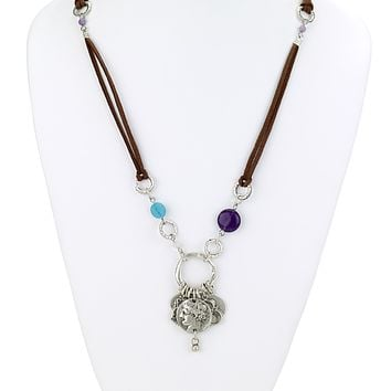 Greek Coin Charms Necklace on Suede