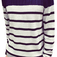 Striped Contrast Color Ribbed Trim Knitted Sweater